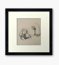 Old Man and Children Framed Print