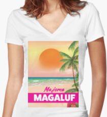 Magaluf Majorca beach travel poster Women's Fitted V-Neck T-Shirt