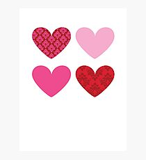 DAMASK HEARTS QUAD PATTERN red & pink Photographic Print