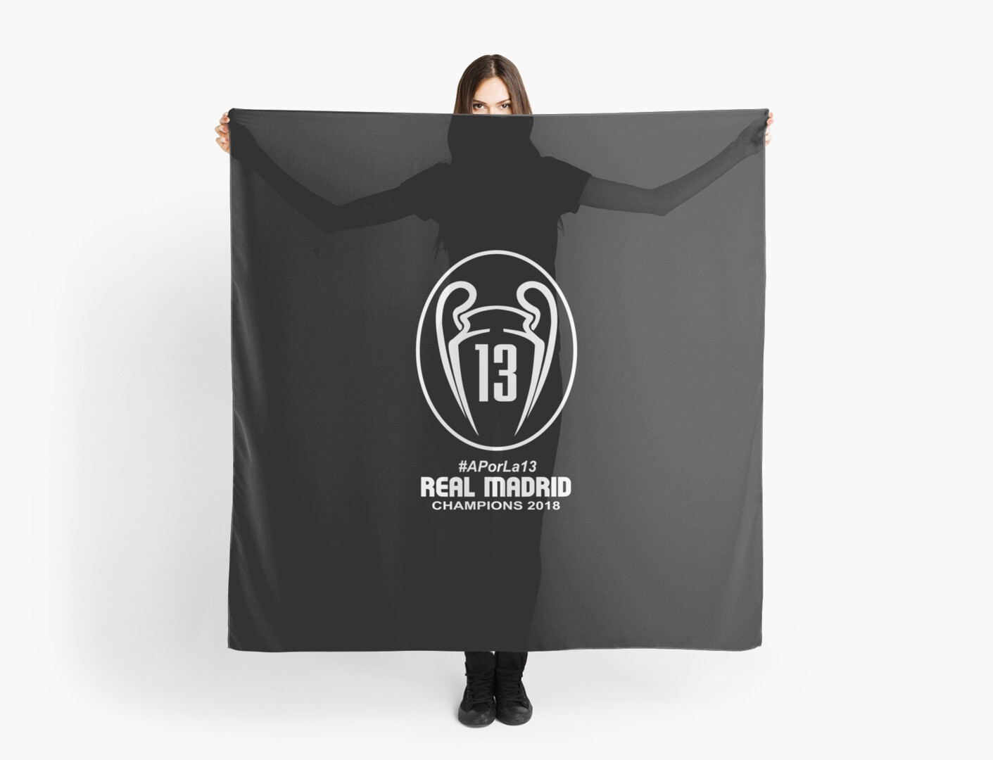 Pañuelos «  APorLa13 CAMPEONES REAL MADRID 2018 Negro» de ... 5a6c90ae87632