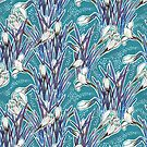 Crocuses, Spring Flowers Floral Pattern, Turquoise Teal White by clipsocallipso