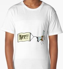 Bee pulling a banner with the word buzz.   Long T-Shirt