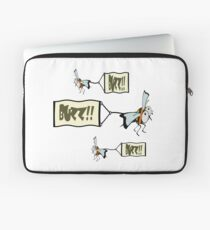 Swarm of bees pulling a banner with the word buzz. Laptop Sleeve