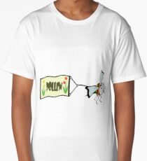 Bee pulling a banner with the word pollen. Long T-Shirt