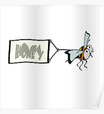 Bee pulling a banner with the word honey. Poster