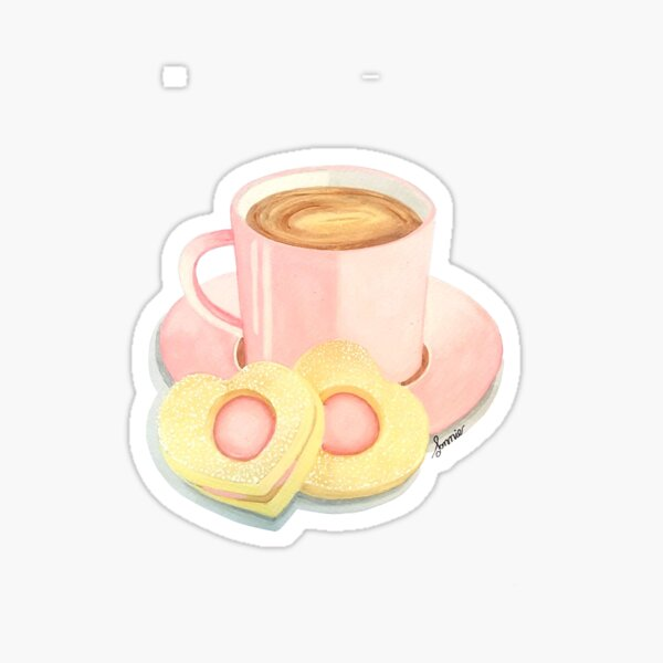 Coffee and cookies, pastel pink art Sticker
