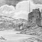 My pencil drawing of Dartmouth and Kingswear Castles, Devon, England 1388 CE by Dennis Melling