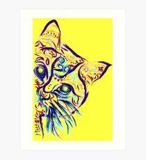 Lámina artística Tatuaje de gato amarillo