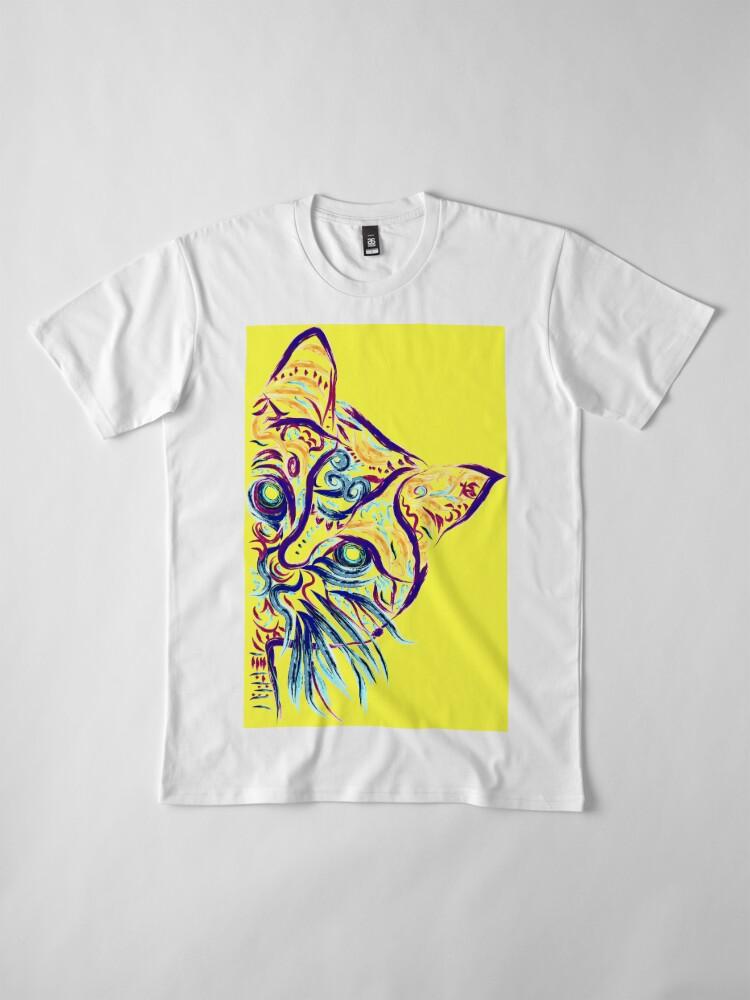 Vista alternativa de Camiseta premium Tatuaje de gato amarillo