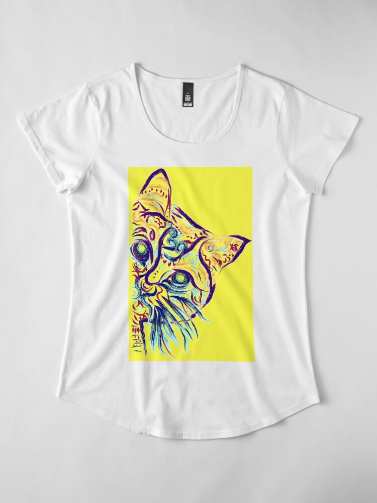 Vista alternativa de Camiseta premium para mujer Tatuaje de gato amarillo