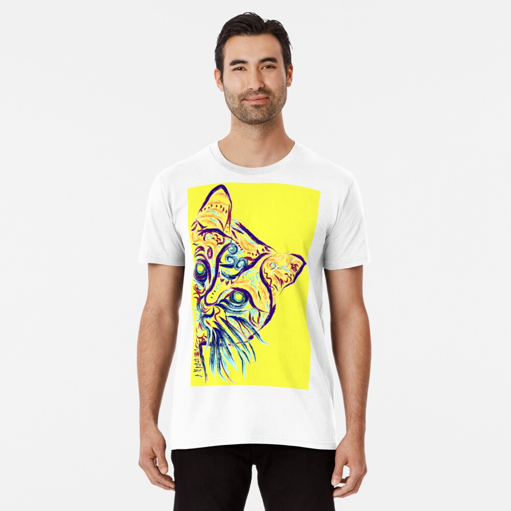 Tatuaje de gato amarillo Camiseta premium