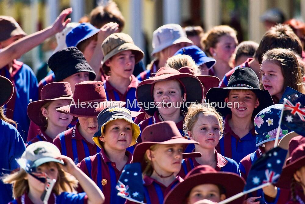 Young marchers on Anzac Day by Alexander Meysztowicz-Howen
