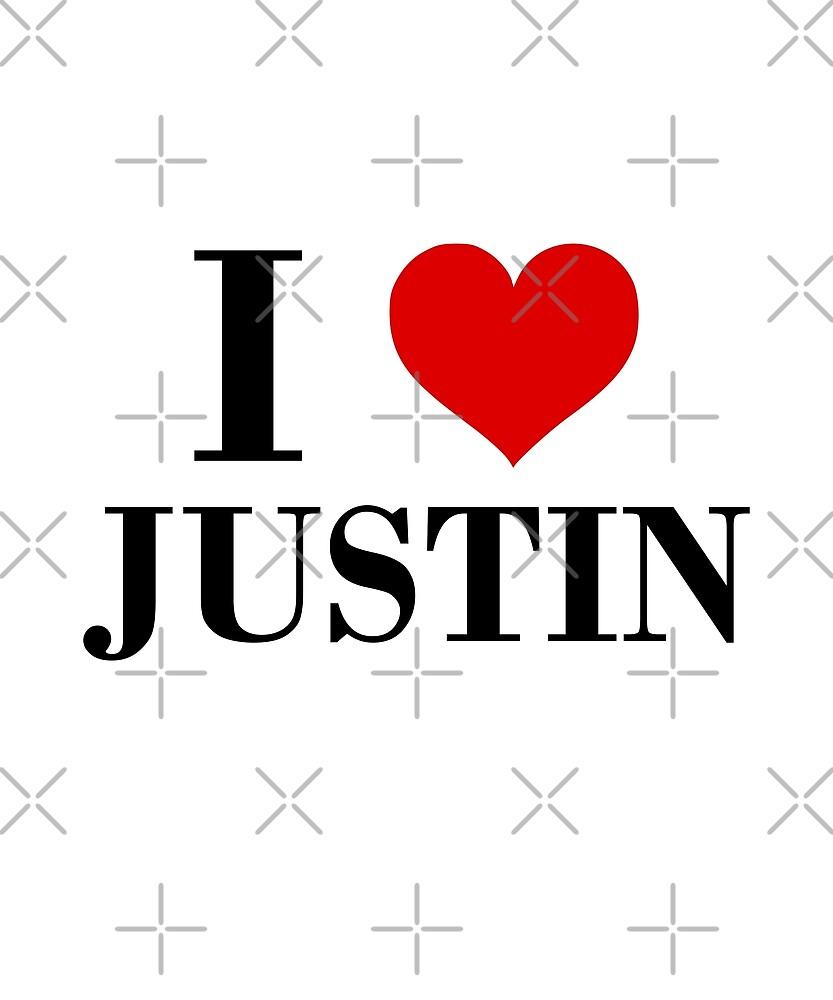 I Heart Justin I Love Justin Classic Design Light Color by TinyStarCanada