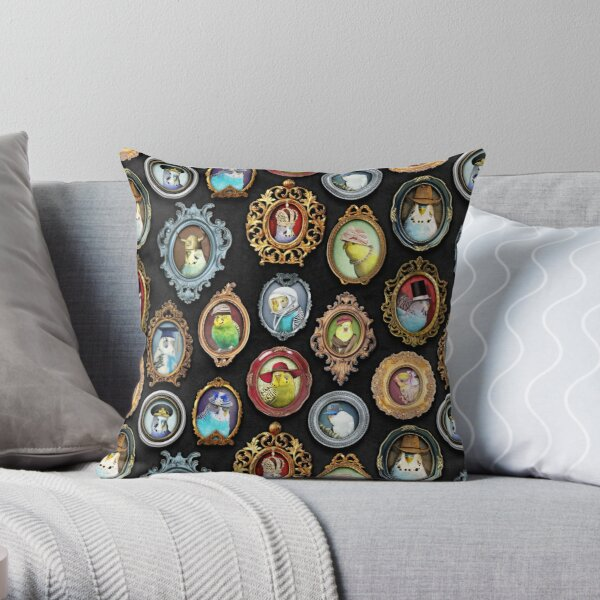 Budgies in Hats Throw Pillow