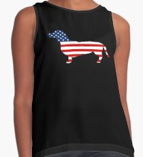Dachshund T-Shirt USA Flag 4th of July Shirt for Dog Lovers Contrast Tank