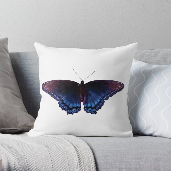 Blue Wing Butterfly Open Wings Throw Pillow