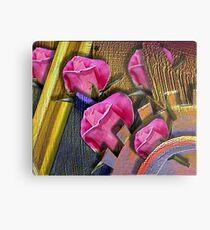 Rosen und Zahnrad. Metalldruck
