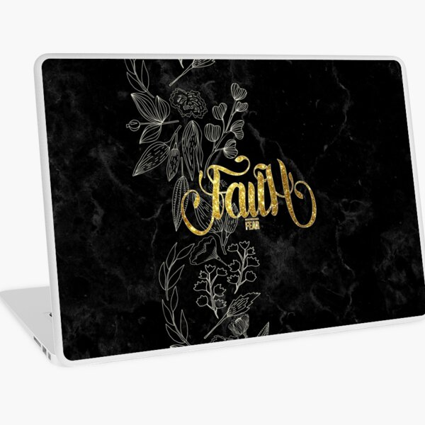 Christian Quote - Faith Over Fear - Elegant Floral - Gold And Marble Laptop Skin