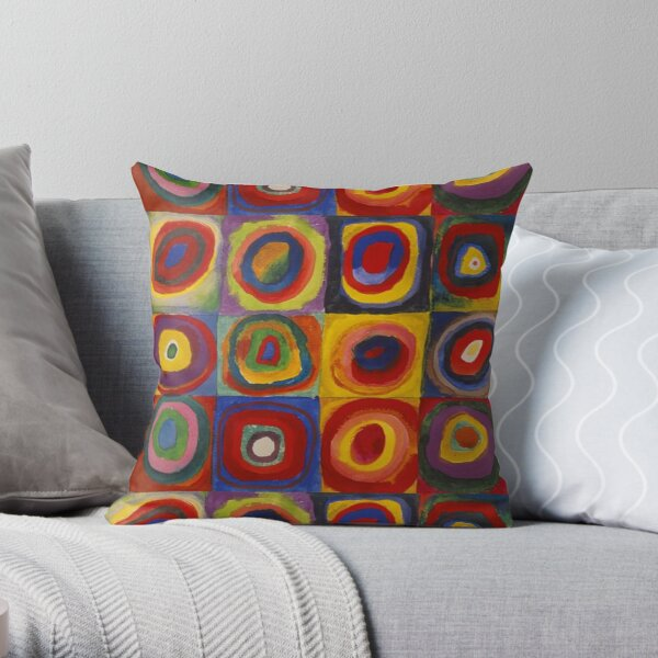 Wassily Kandinsky, Colour Study, Squares with Concentric Circles. Throw Pillow