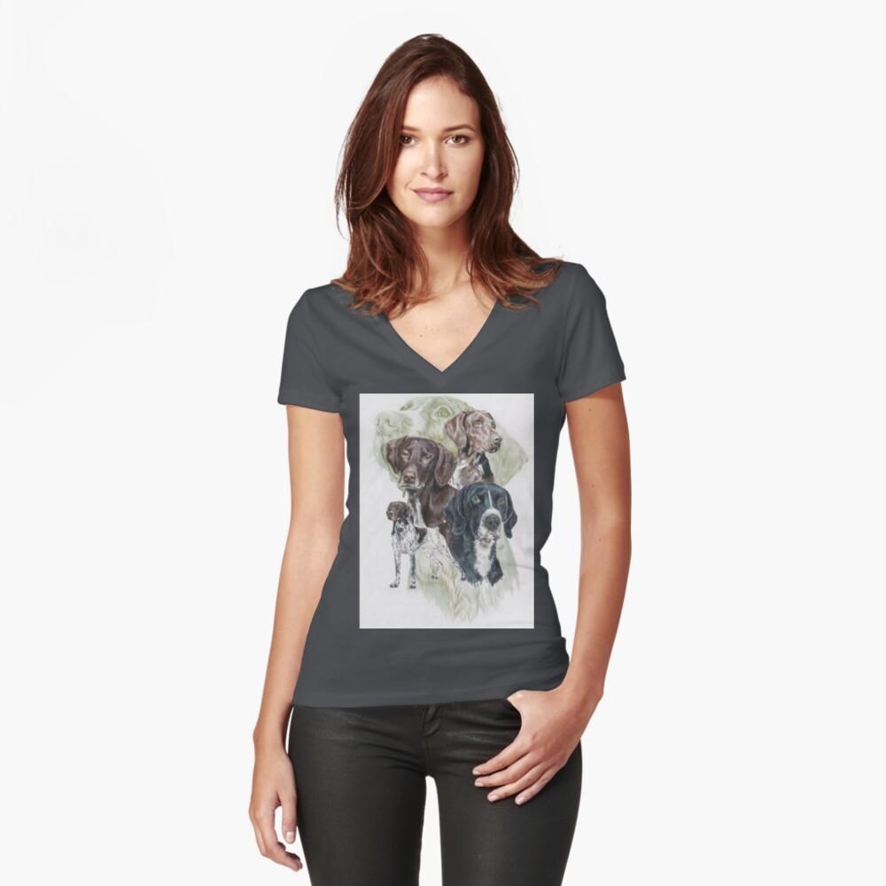 German Short-Haired Pointer Revamp Women's Fitted V-Neck T-Shirt Front