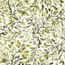 « Feuilles et brindilles en olive » par Rebecca Reck Art