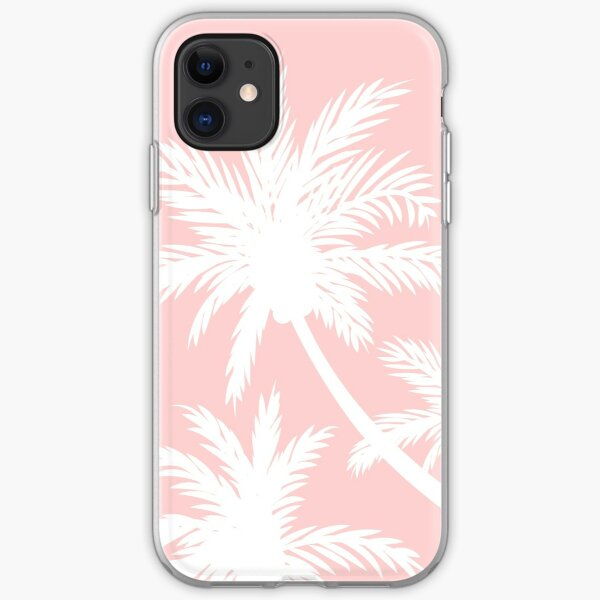 Tropical summer simple white palm trees on girly pink iPhone Soft Case