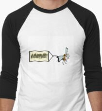 Bee pulling a banner with the word no  neonicotinoids, Men's Baseball ¾ T-Shirt