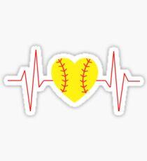 Softball Heart Beat Sticker
