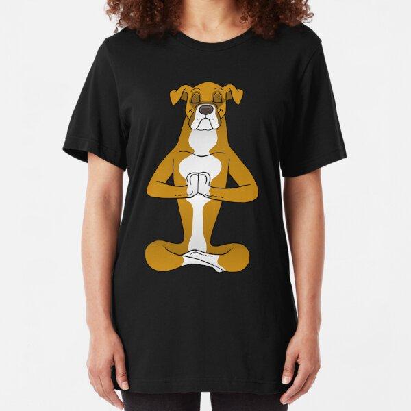 Boxer Dog Namaste Yoga Slim Fit T-Shirt