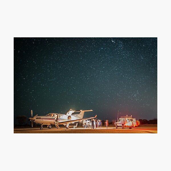 RFDS Evac Under a Starry Southern Sky - Tjuntjuntjara, Great Victoria Desert, WA - Take 2 Photographic Print