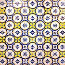 Yellow And Blue Circle Tiles From Lisbon by for91days