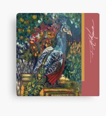 Peacock Garden. FA Moore Signature design, in Soft Red Metal Print