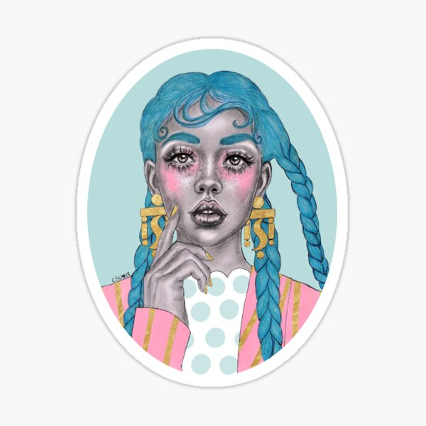 Blue haired girl Sticker