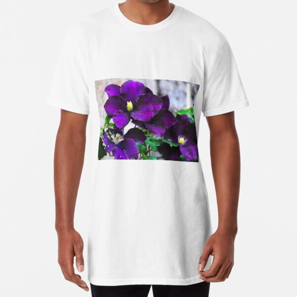 Purple clematis Long T-Shirt