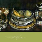 China Cabinet Still Life I. FA Moore Signature design, in Apple Green by F.A. Moore
