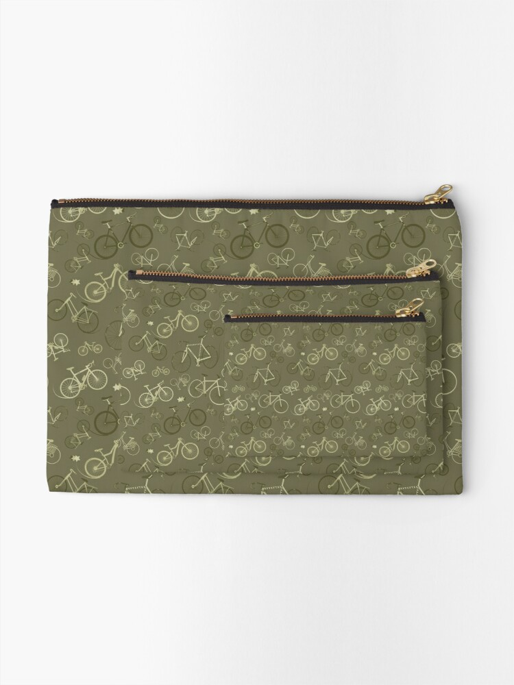 Alternate view of I love bikes in Army Green Zipper Pouch