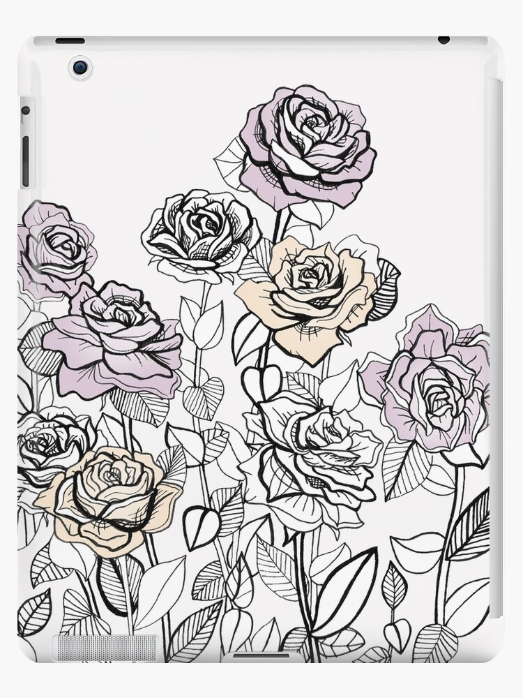 Rose Bush Drawing Graphic Design Ipad Case Skin By