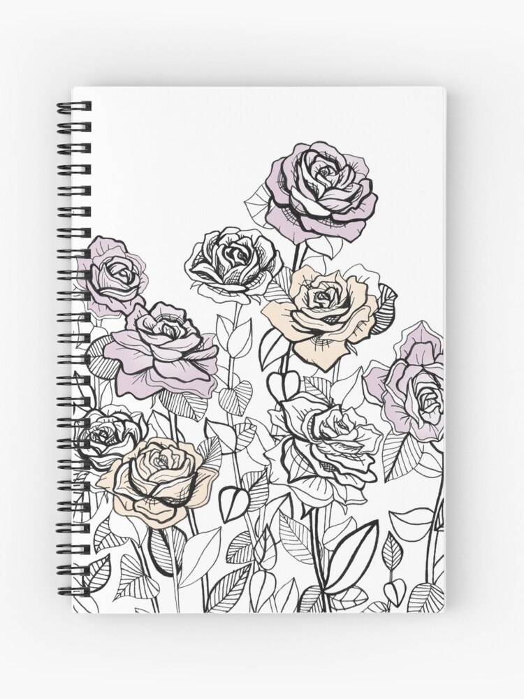 Rose Bush Drawing Graphic Design Spiral Notebook By