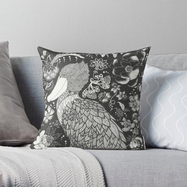 Shoebill in the Garden Throw Pillow