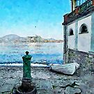 Arona: fountain and boat by the lake by Giuseppe Cocco
