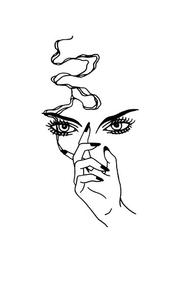 """Outline Tattoo of a Girl Smoking"" Poster by Artman ..."