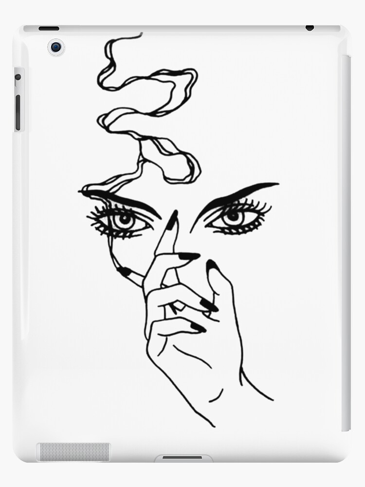 "Tattoo Outlines For Girls: ""Outline Tattoo Of A Girl Smoking"" IPad Cases & Skins By"