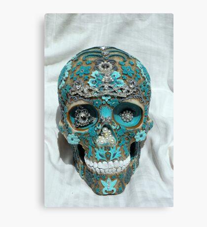 Teal Gem Skull Canvas Print