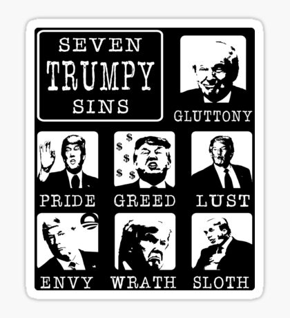 Seven Trumpy Sins Sticker