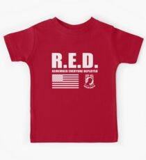 Red Friday Wear Red On Friday Remember Everyone Deployed American Soldier POW MIA Kids Tee