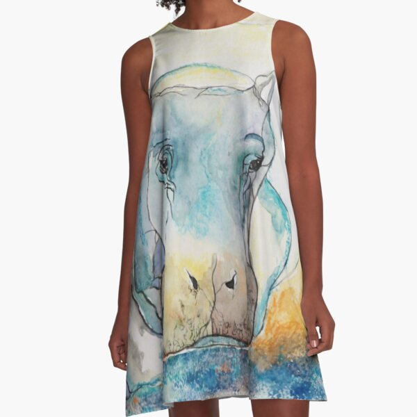 Water Color Hippopotamus A-Line Dress