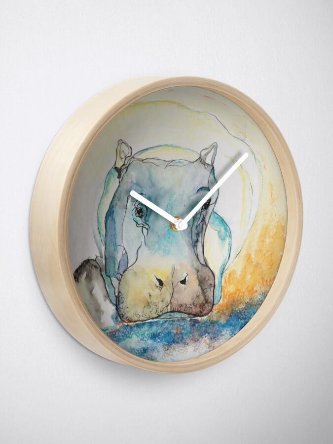 Alternate view of Water Color Hippopotamus Clock