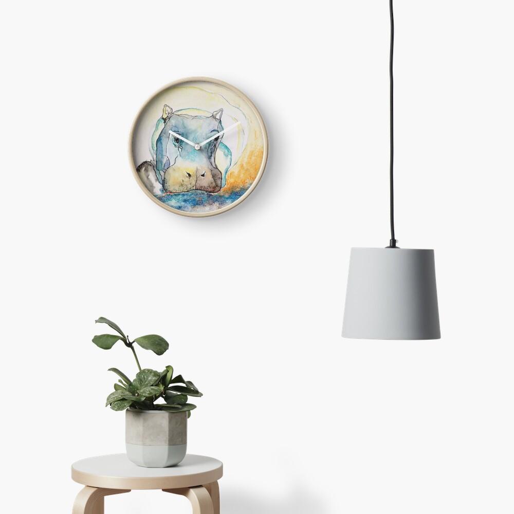 Water Color Hippopotamus Clock