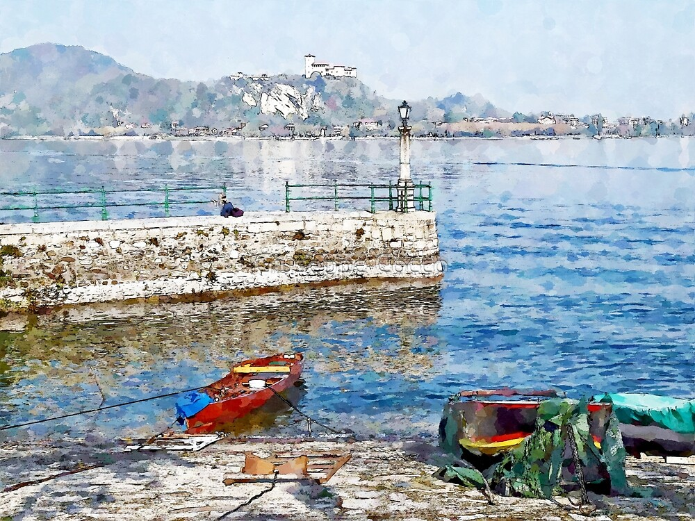 Arona: boats on the shoreline by Giuseppe Cocco