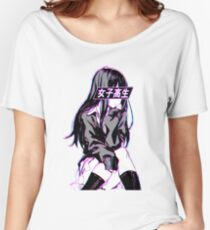 SCHOOLGIRL (Glitch) - Sad Japanese Anime Aesthetic Women's Relaxed Fit T-Shirt